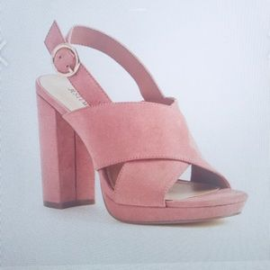 Rose suede Chunk Heel Sandals